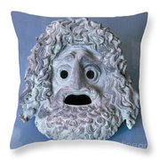 Greece: Theatrical Mask Throw Pillow