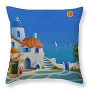 Greek Blue Santorini A Greek Fairytale Throw Pillow