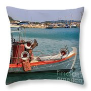 Greek Boat And Boots Throw Pillow