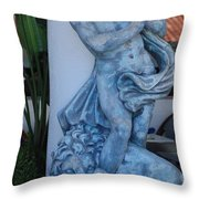 Greek Dude And Lion In Blue Throw Pillow