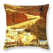 Greek Fishing Town Throw Pillow