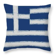 Greek Flag Smudged Throw Pillow