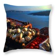 Greek Food At Santorini Throw Pillow by David Smith