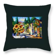 Greek Noon - Palette Knife Oil Painting On Canvas By Leonid Afremov Throw Pillow
