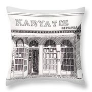 Greek Restaurant In Astoria, Ny Throw Pillow