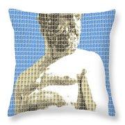 Greek Statue #2 - Blue Throw Pillow