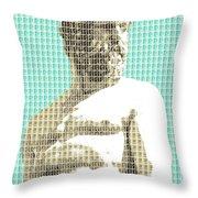 Greek Statue #2 - Light Blue Throw Pillow