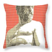 Greek Statue #2 - Orange Throw Pillow