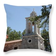 Greek Village Church In The Forest Throw Pillow
