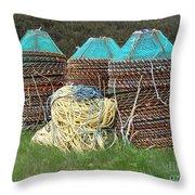Green - Crab Pots Throw Pillow
