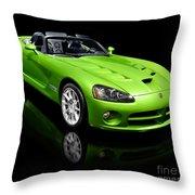 Green 2008 Dodge Viper Srt10 Roadster Throw Pillow