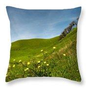 Green 4 Flowers Throw Pillow
