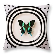 Green And Black Butterfly On Plate Throw Pillow