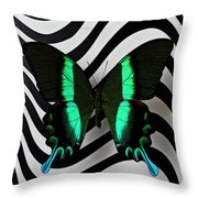 Green And Black Butterfly On Wavey Lines Throw Pillow