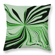 Green And Black Embroidered Butterfly Abstract Throw Pillow