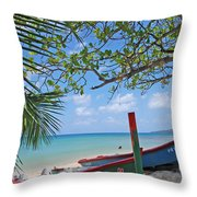 Green And Blue Boat Throw Pillow
