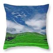 Green And Blue Landscape Throw Pillow