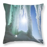 Green And Blue Spikes Of Kryptonite Throw Pillow