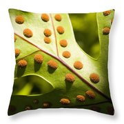 Green And Orange Leaf Throw Pillow