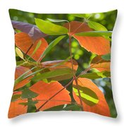 Green And Orange Leaves Throw Pillow