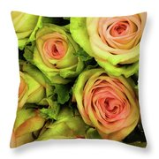 Green And Pink Rose Bouquet Throw Pillow