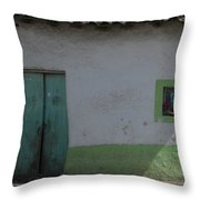 Green And White House Throw Pillow