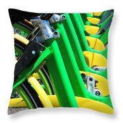 Green And Yellow Bicycles Throw Pillow