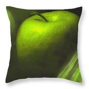 Green Apple Drama Throw Pillow