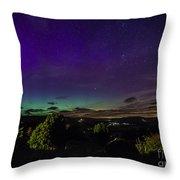 Green Aurora Curtain Throw Pillow