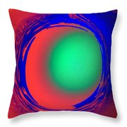 Green Ball In Red Funnel  Throw Pillow