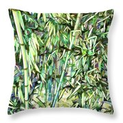 Green Bamboo Tree Throw Pillow