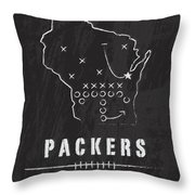 Green Bay Packers Art - Nfl Football Wall Print Throw Pillow by Damon Gray