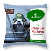 Green Bay Packers Throw Pillow by Kathy Tarochione