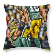 Green Bay Packers Team Art Throw Pillow