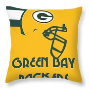 Green Bay Packers Team Vintage Art Throw Pillow