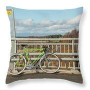 Green Bicycle On Bridge Throw Pillow