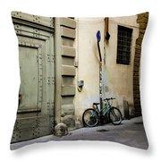 Green Bike And Door Throw Pillow