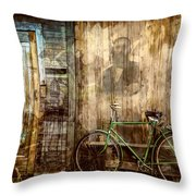 Green Bike Crooked Door Throw Pillow