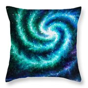 Green-blue Galaxy And Ocean. Planet Dzekhtsaghee Throw Pillow