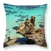 Green Blue Ocean Water And Rocks Throw Pillow