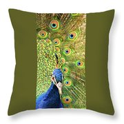 Green Blue Peacock Showing Off His Feathered Tail No2 Throw Pillow