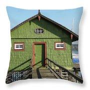 Green Boathouse Throw Pillow