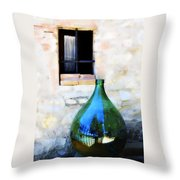 Green Bottle Italian Window Throw Pillow