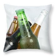 Green Bottle Of Beer Throw Pillow by Deyan Georgiev