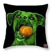 Green Boxer Mix Dog Art - 8173 - Bb Throw Pillow