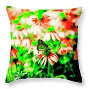 Green Butterfly Throw Pillow