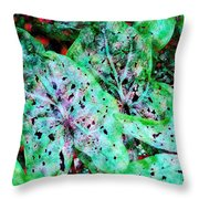 Green Caladium Throw Pillow