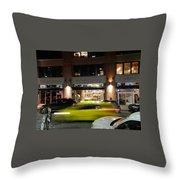 Green Car Zooming Through Yaletown Throw Pillow