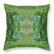 Green Fractal Throw Pillow