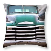 Green Chevy Truck Throw Pillow